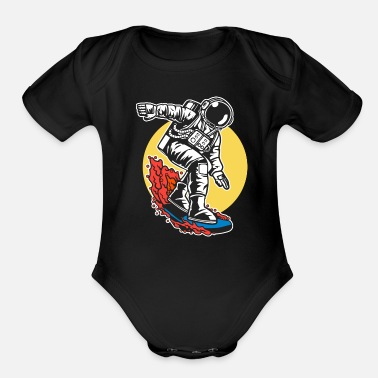 Awesome Space Surfer - Organic Short-Sleeved Baby Bodysuit