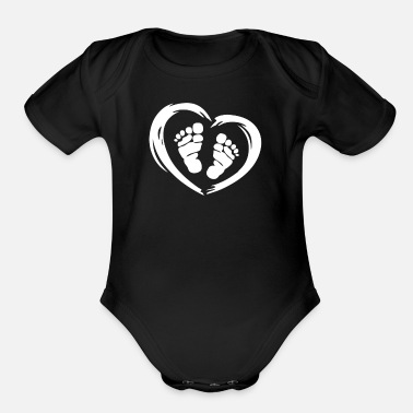 Foot Foot In Heart - Organic Short Sleeve Baby Bodysuit