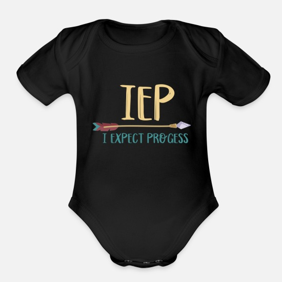 Iep Baby Clothing - IEP I Expect Progress Teacher - Organic Short-Sleeved Baby Bodysuit black