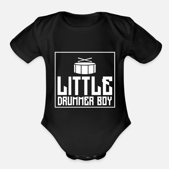Rocker Baby Clothing - Little Drummer Boy - Organic Short-Sleeved Baby Bodysuit black