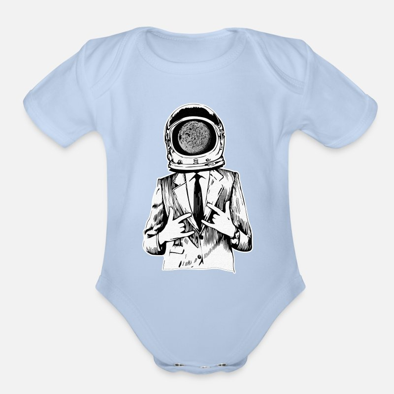 Cool astronaut in a suit gift T-shirt Organic Short Sleeve Baby Bodysuit -  sky