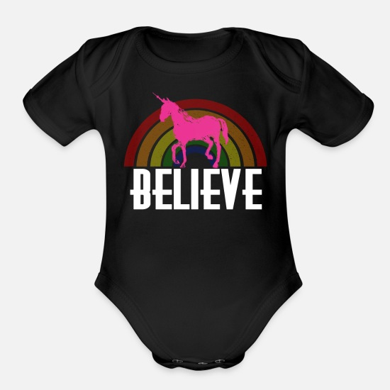 Horse Baby Clothing - Believe Rainbow Unicorn - Organic Short-Sleeved Baby Bodysuit black