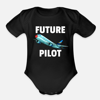 B Day Airplane Fly Plane pilot flying flight airport 747 - Organic Short-Sleeved Baby Bodysuit