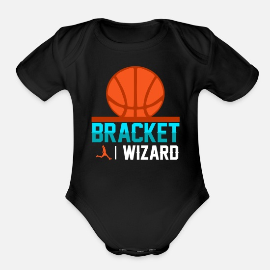 College Baby Clothing - Basketball Bracket Wizard Gift I Hoops Madness - Organic Short-Sleeved Baby Bodysuit black