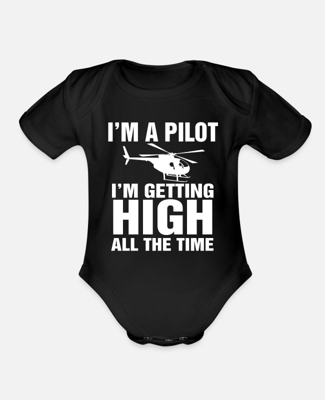 Pilot Baby One Pieces - Helicopter Pilot Gift I Military Heli Aviator - Organic Short-Sleeved Baby Bodysuit black