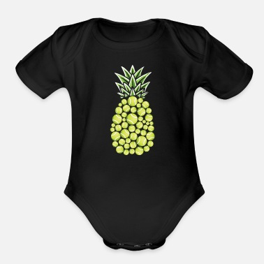 Jelly Pineapple Aloha Beaches Hawaii Tennis Player - Organic Short-Sleeved Baby Bodysuit