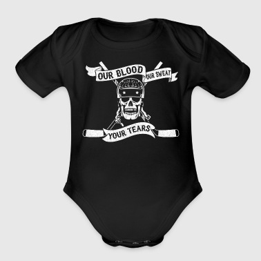 Our Blood, Our Sweat, Your Tears (Hockey) - Organic Short Sleeve Baby Bodysuit