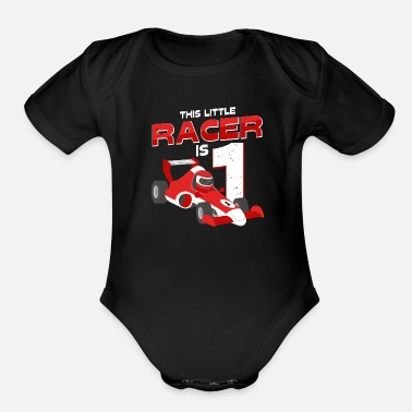 Boy This Little Racer Is 1 Year Old 1st Birhtday Gift - Organic Short-Sleeved Baby Bodysuit