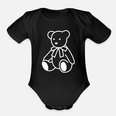 Panda Cartoon Teddy Bear - Organic Short Sleeve Baby Bodysuit