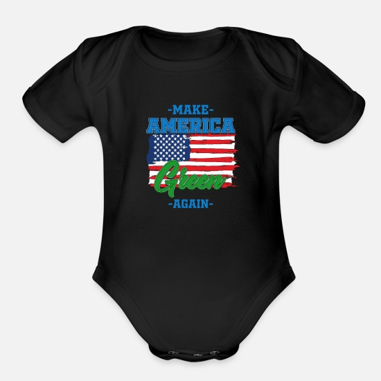 Planet Baby Clothing - Grünes Amerika - Organic Short-Sleeved Baby Bodysuit black