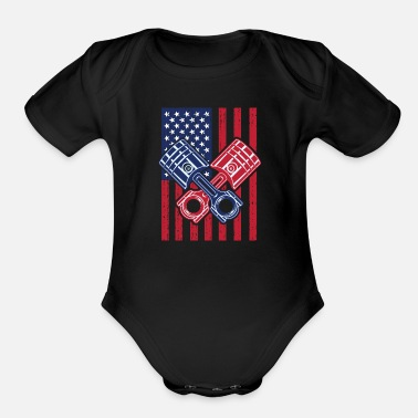 Racing Drag Car Racing USA Flag - Organic Short-Sleeved Baby Bodysuit