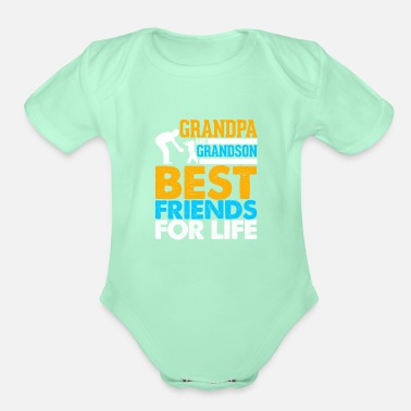Parents Grandpa And Grandson Best Friends For Life - Organic Short-Sleeved Baby Bodysuit