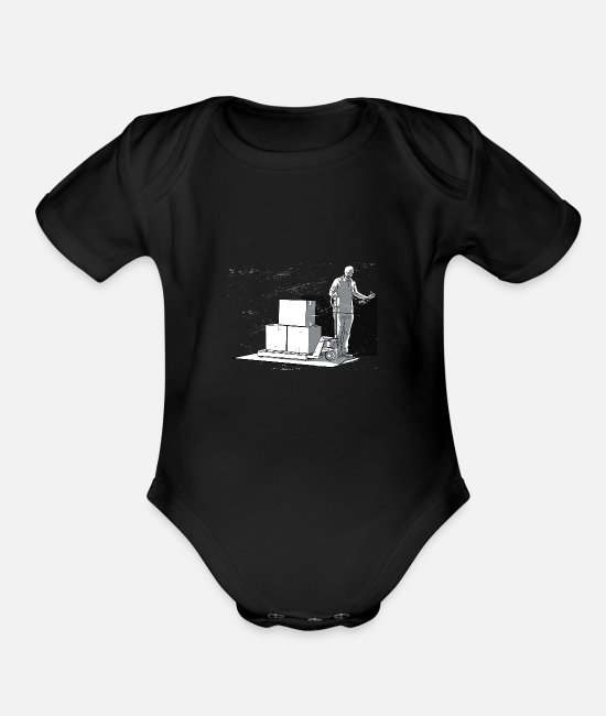 Cargo Baby One Pieces - Unloading pallets - Organic Short-Sleeved Baby Bodysuit black