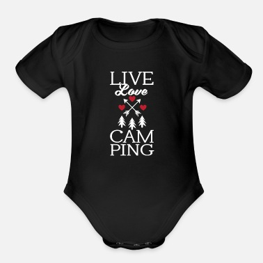 Roast Funny Live Love Camping Tent Outdoor Camper - Organic Short-Sleeved Baby Bodysuit