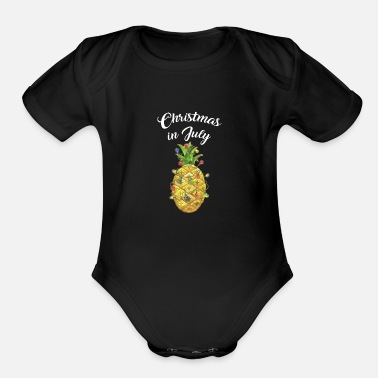 Elf Christmas In July Pineapple Xmas Tree Lights - Organic Short-Sleeved Baby Bodysuit