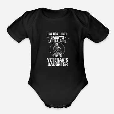 Navy I'm Veteran's Daughter Not Just Daddy's Little - Organic Short-Sleeved Baby Bodysuit