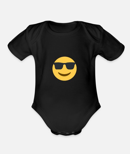 Smiley Baby One Pieces - Smiley cool sunglasses - Organic Short-Sleeved Baby Bodysuit black