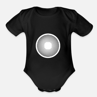 Pupil-eye pupil hafltone big eye watching looking observe - Organic Short-Sleeved Baby Bodysuit