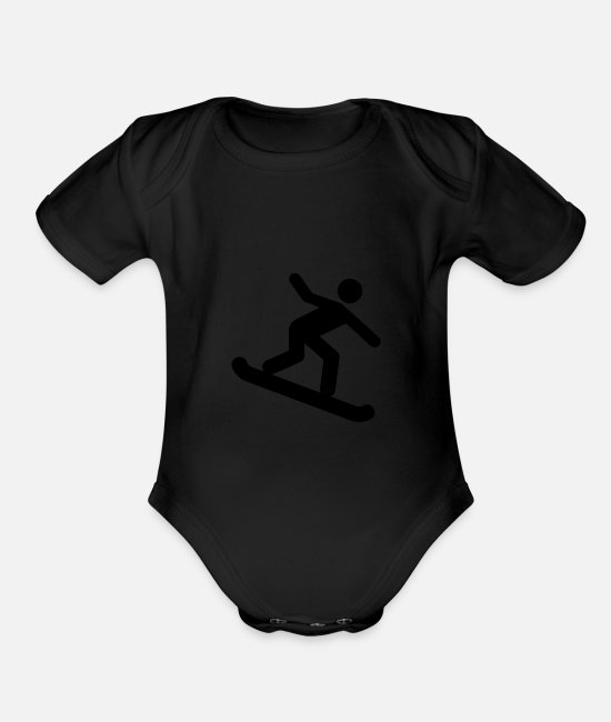 Dea Baby One Pieces - Snowboarding Symbol - Organic Short-Sleeved Baby Bodysuit black