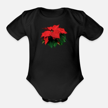 Poinsettia Poinsettia and Leaves - Organic Short-Sleeved Baby Bodysuit