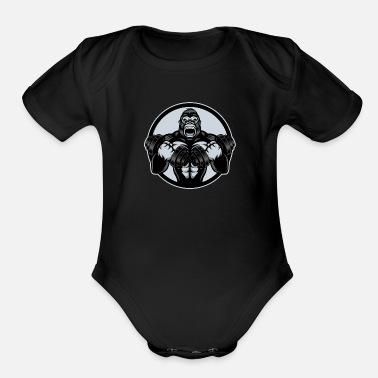Gorilla with dumbbells - Organic Short-Sleeved Baby Bodysuit