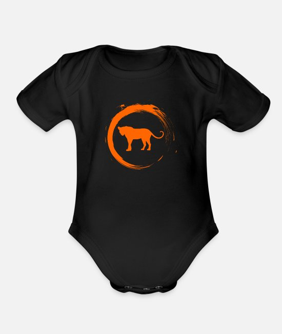 Africa Baby Clothing - Leopard - Organic Short-Sleeved Baby Bodysuit black