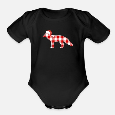 Pajamas Fox Xmas Christmas Buffalo Plaid Pajamas Fox Xmas Holiday T - Organic Short-Sleeved Baby Bodysuit