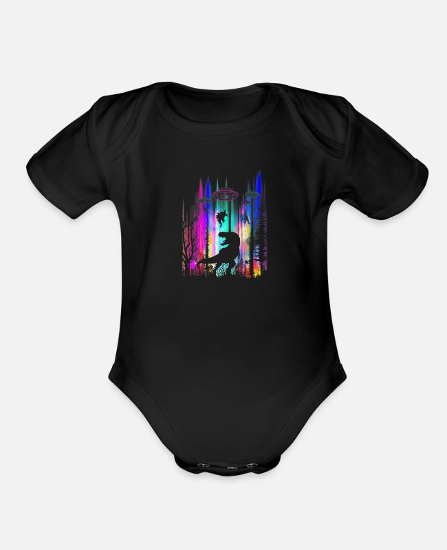 Mountains Baby One Pieces - Funny Alien UFO T Rex Abduction Colorful Forest - Organic Short-Sleeved Baby Bodysuit black
