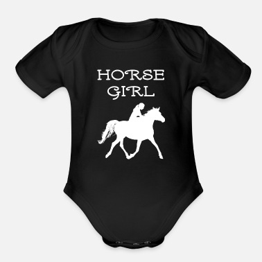 Horse Owner Joke Horse Girl Silhouette Horseback Riding Woman - Organic Short-Sleeved Baby Bodysuit