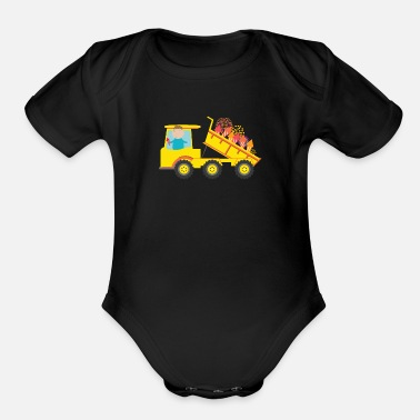 Dump Truck full of Fireworks for Fourth of July - Organic Short-Sleeved Baby Bodysuit