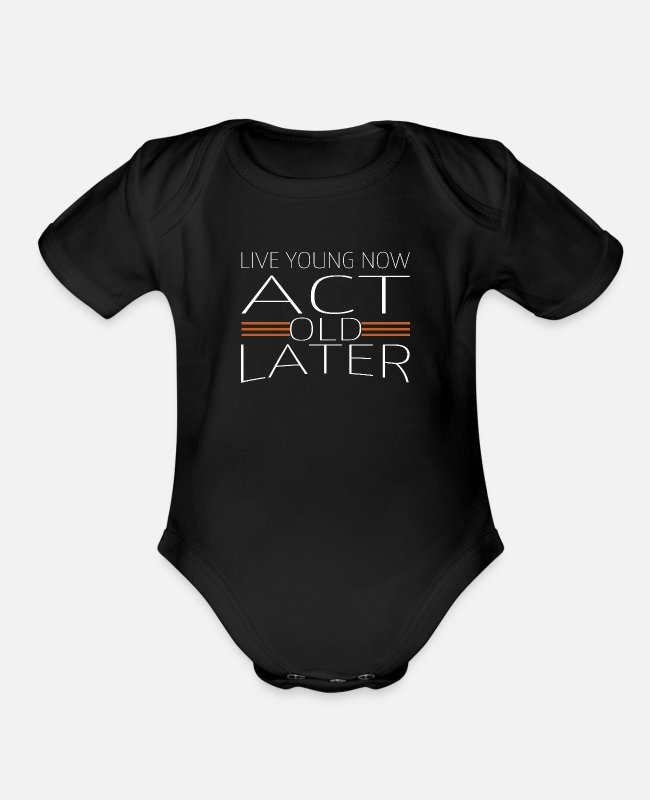 Quote Baby One Pieces - gift idea funny quote present humor cool - Organic Short-Sleeved Baby Bodysuit black