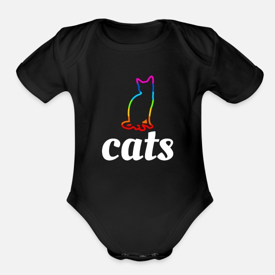 Love Baby Clothing - rainbow cat - Organic Short-Sleeved Baby Bodysuit black