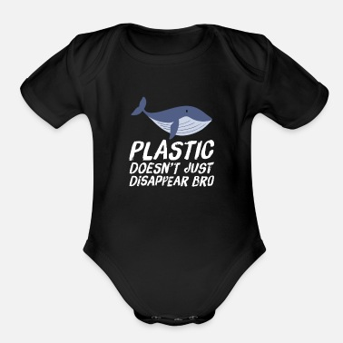 Son Save The Oceans Earth Day Plastic Doesn't - Organic Short-Sleeved Baby Bodysuit