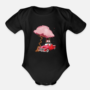 Red Gnomes red truck tree - Valentine's day - Organic Short-Sleeved Baby Bodysuit