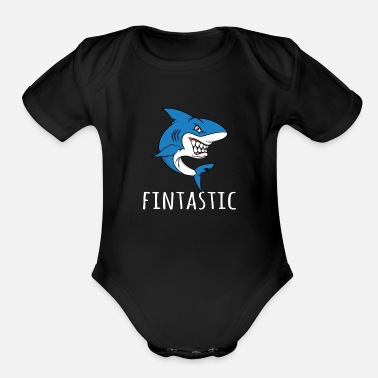 Sea Shark Lover - Funny Pun Fintastic - Organic Short-Sleeved Baby Bodysuit