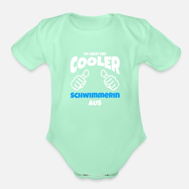 Swim swimmer cool thumbs up gift - Organic Short-Sleeved Baby Bodysuit
