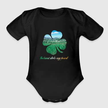Lucky Four Leaf Clover - Organic Short Sleeve Baby Bodysuit