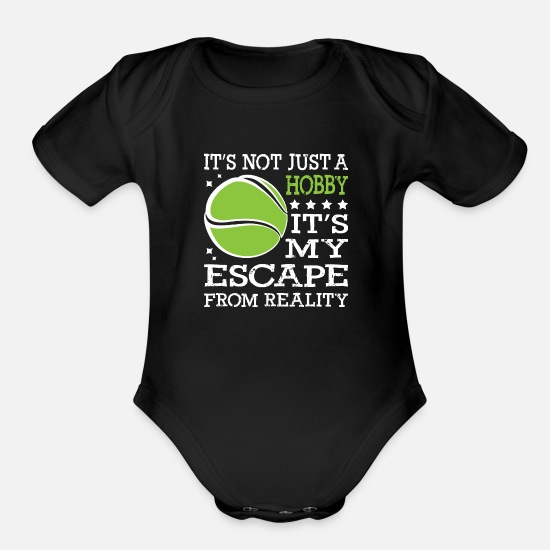 Sports Baby Clothing - Tennis Not Just A Hobby - Organic Short-Sleeved Baby Bodysuit black