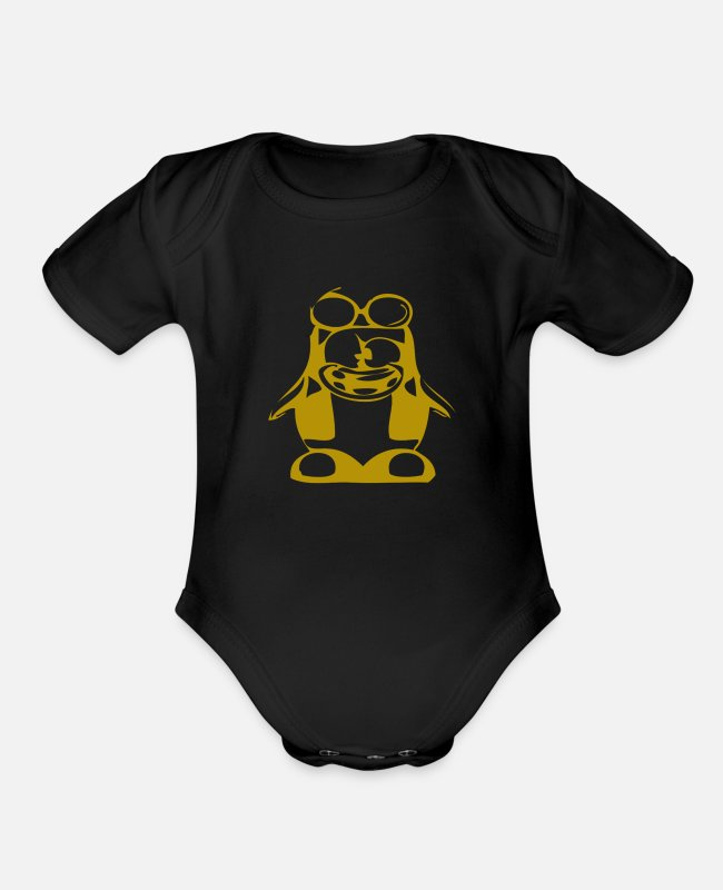 Unix Baby One Pieces - Gold penguin in nerd style - Organic Short-Sleeved Baby Bodysuit black