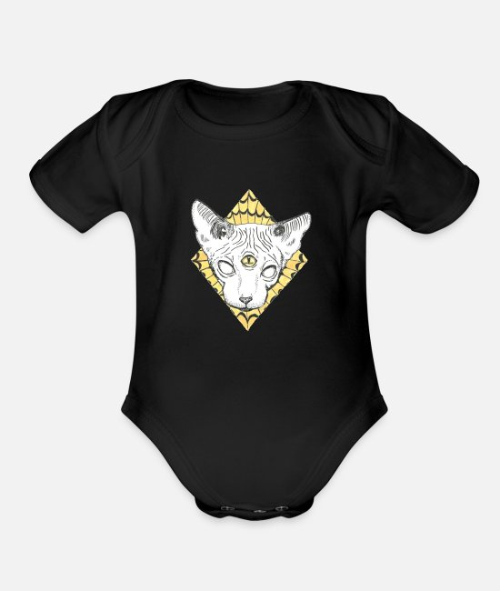 Pyramid Baby One Pieces - Tripping Pastel Character - Organic Short-Sleeved Baby Bodysuit black