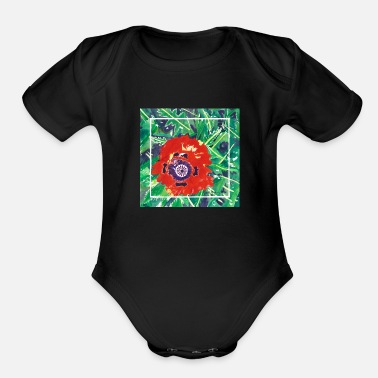Watercolor Crystals Poppy Watercolor - Organic Short-Sleeved Baby Bodysuit
