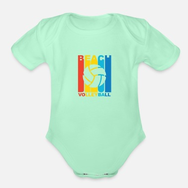 Beach Volleyball Vintage Beach Volleyball Graphic - Organic Short-Sleeved Baby Bodysuit