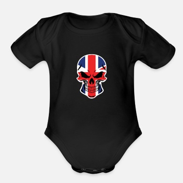 British Flag Skull - Organic Short-Sleeved Baby Bodysuit