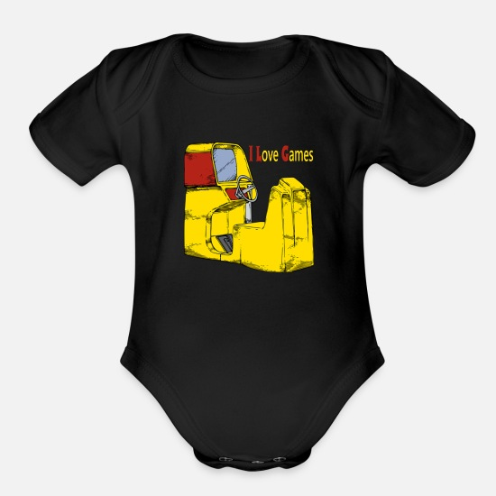 Love Baby Clothing - I love Games - Organic Short-Sleeved Baby Bodysuit black