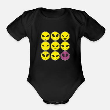 Facial Expressions Funny Alien Heads And Facial Expressions Pattern - Organic Short-Sleeved Baby Bodysuit