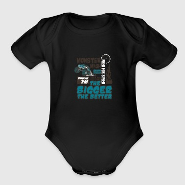 Monster truck - Organic Short Sleeve Baby Bodysuit