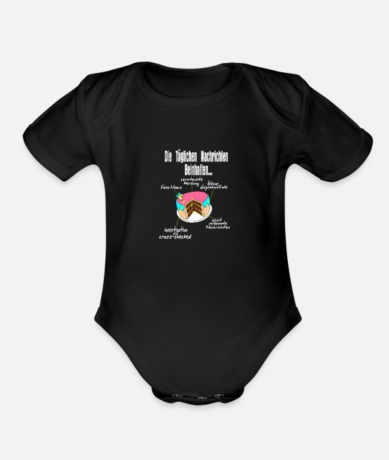 TV Baby One Pieces - what news contain, gift idea present - Organic Short-Sleeved Baby Bodysuit black