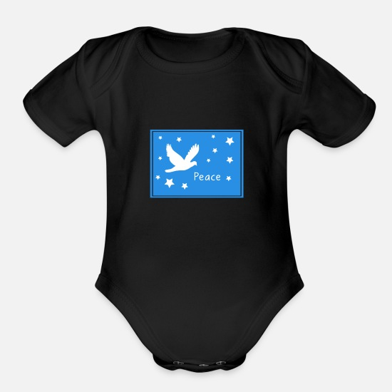 Peace Sign Baby Clothing - Peace - Organic Short-Sleeved Baby Bodysuit black