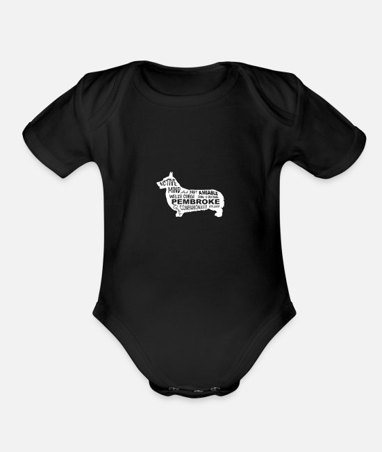 Celtic Baby One Pieces - Welsh Corgi Pembroke - Organic Short-Sleeved Baby Bodysuit black