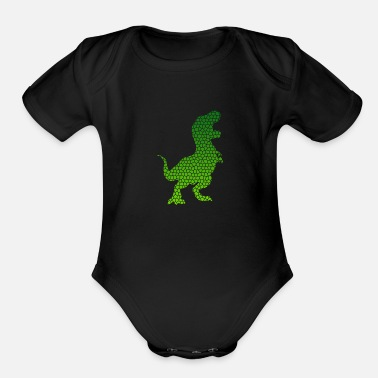 New Father Mosaic T-Rex Dinosaurs Gift Idea - Organic Short-Sleeved Baby Bodysuit